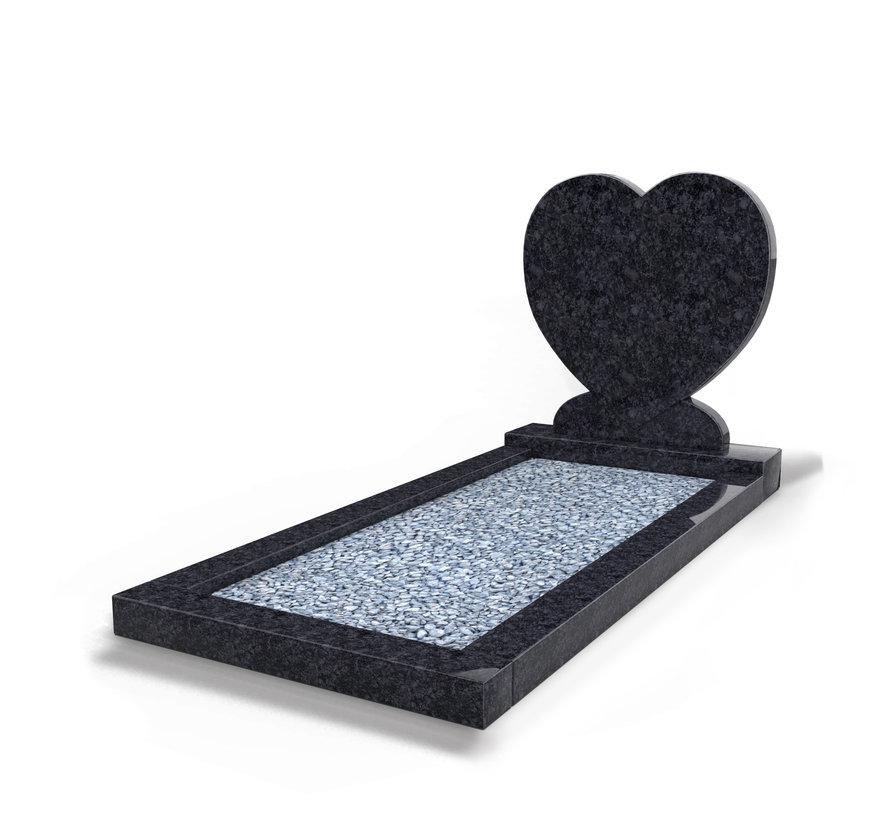 Staande grafsteen 'Hartmodel' met omranding en licht grind in de kleur Steel Grey