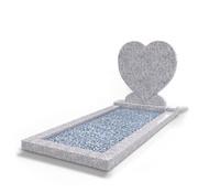 Grafsteenwinkel Staande grafsteen Hartmodel met omranding en licht grind Glittery White