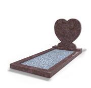 Grafsteenwinkel Staande grafsteen Hartmodel met omranding en licht grind Himalaya Blue