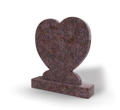 Grafsteenwinkel Staande grafsteen 'hartmodel' letterplaat in de kleur Himalaya Blue