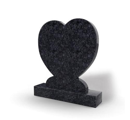 Grafsteenwinkel Staande grafsteen 'hartmodel' letterplaat in de kleur Steel Grey