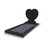 Grafsteenwinkel Staande grafsteen Hartmodel met omranding en donker grind Steel Grey