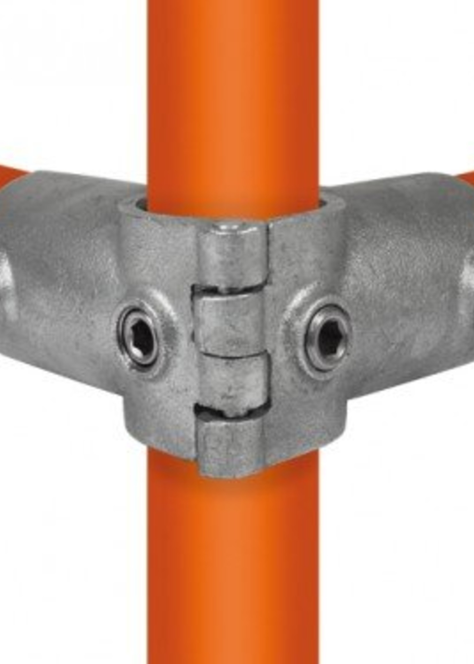 Easyclamp Type 20O: Open (klapbaar) hoekstuk doorlopende staander 90º