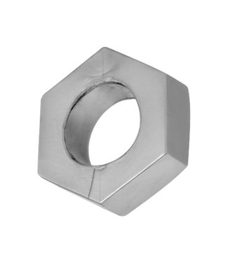 Master Series Silver Hex Heavy Duty Cock Ring and Ball Stretcher