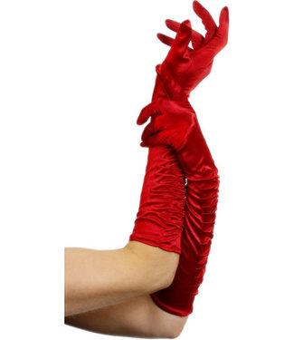 Fever Lange glanzende handschoenen - Rood