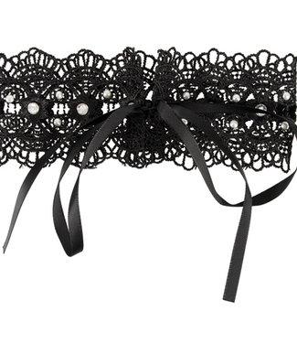 Cottelli Collection Zwarte geborduurde halsband met steentjes