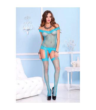 Music Legs Off-Shoulder Jarretelset Catsuit - Turquoise