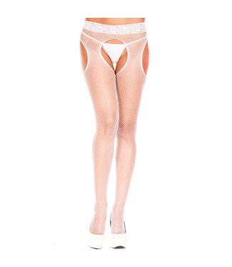 Music Legs Visnet Panty Met Open Kruis - Wit