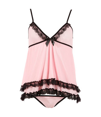 Cottelli Collection Babydoll-Set Rosa