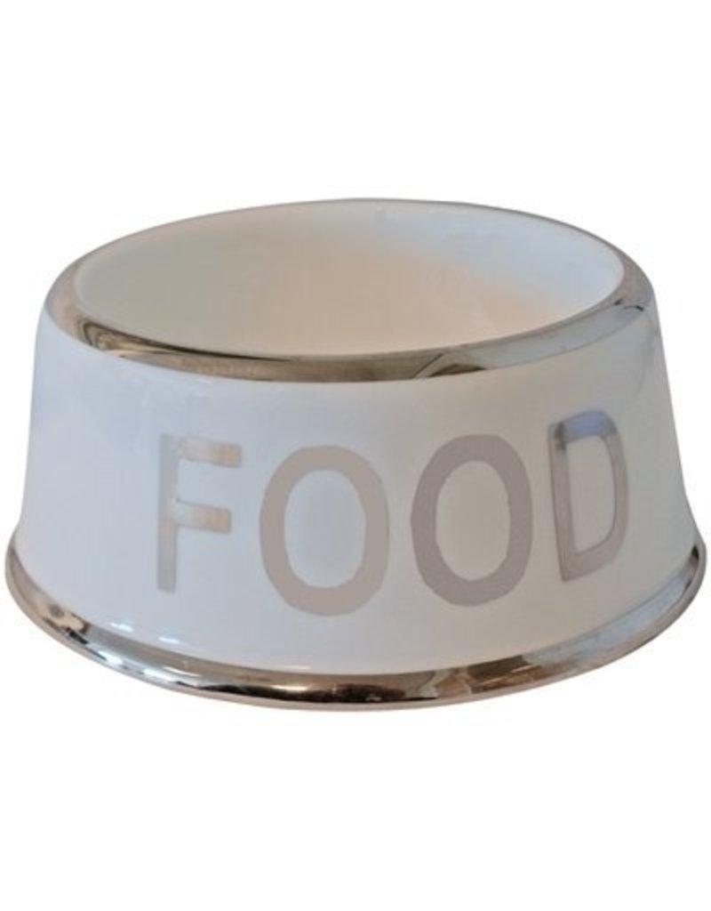 De Boon Voerbak hond ivoor/zilver  'food' 18cm
