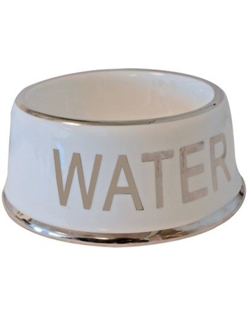 De Boon Hondeneetbak ivoor/zilver 'water' 18cm