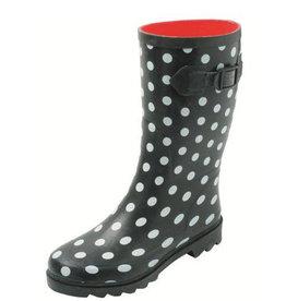 Gevavi Boots Gevavi Boots - Stip dameslaars rubber zwart/wit - Maat 39