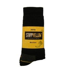 Stapp Stapp - 4415 Yellow sok worker zwart - Maat 43/46