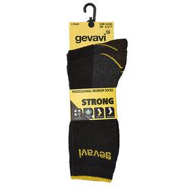 Gevavi Gevavi - ST01 strong sokken 2 paar/bundel zwart - Maat 39/42