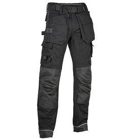 4Work 4WORK - Madrid Premium werkbroek stretch inserts zwart - Maat 46