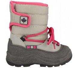 Winter-grip junior snowboots Velcro grijs/roze