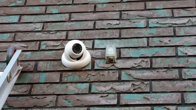 Camerabewaking systeem op een appartement gebouw
