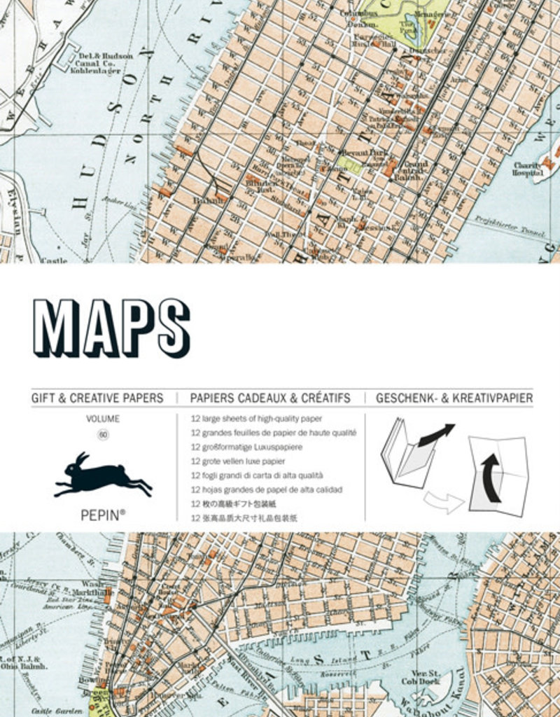 Pepin Press Boek met cadeaupapier MAPS