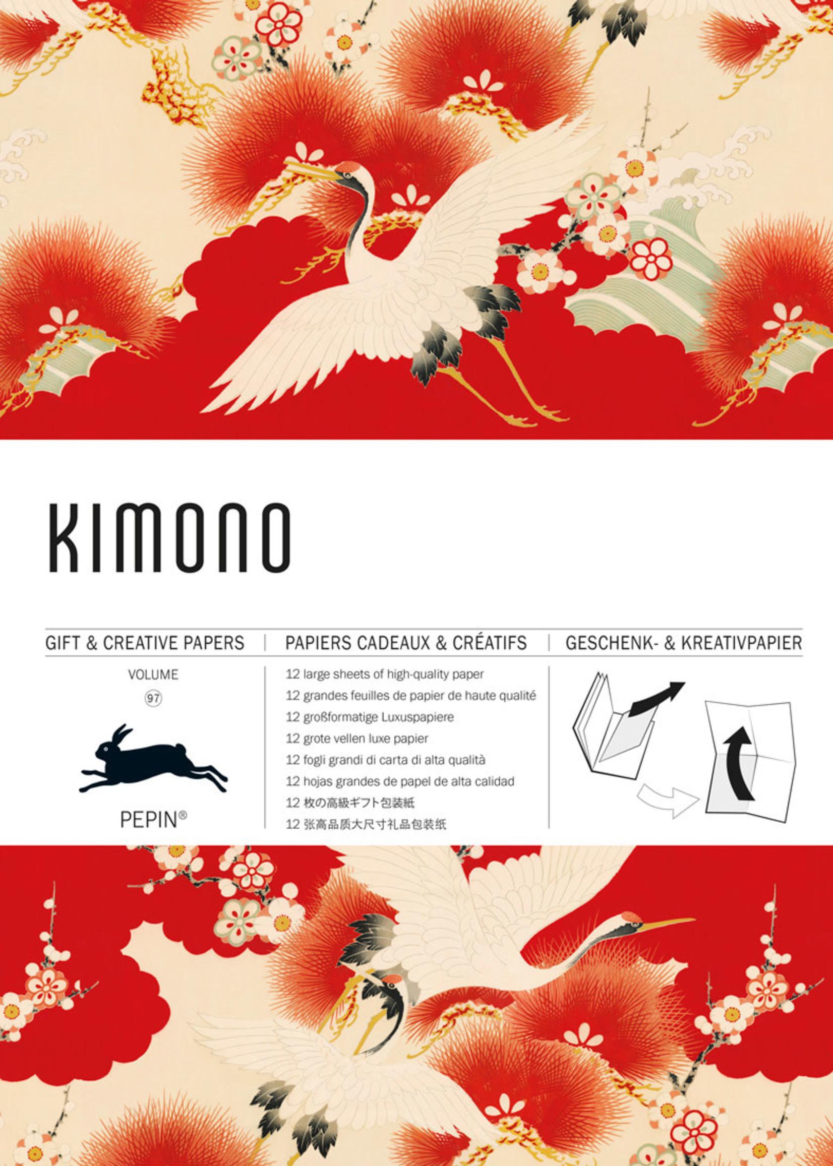 Pepin Press Boek met cadeaupapier KIMONO