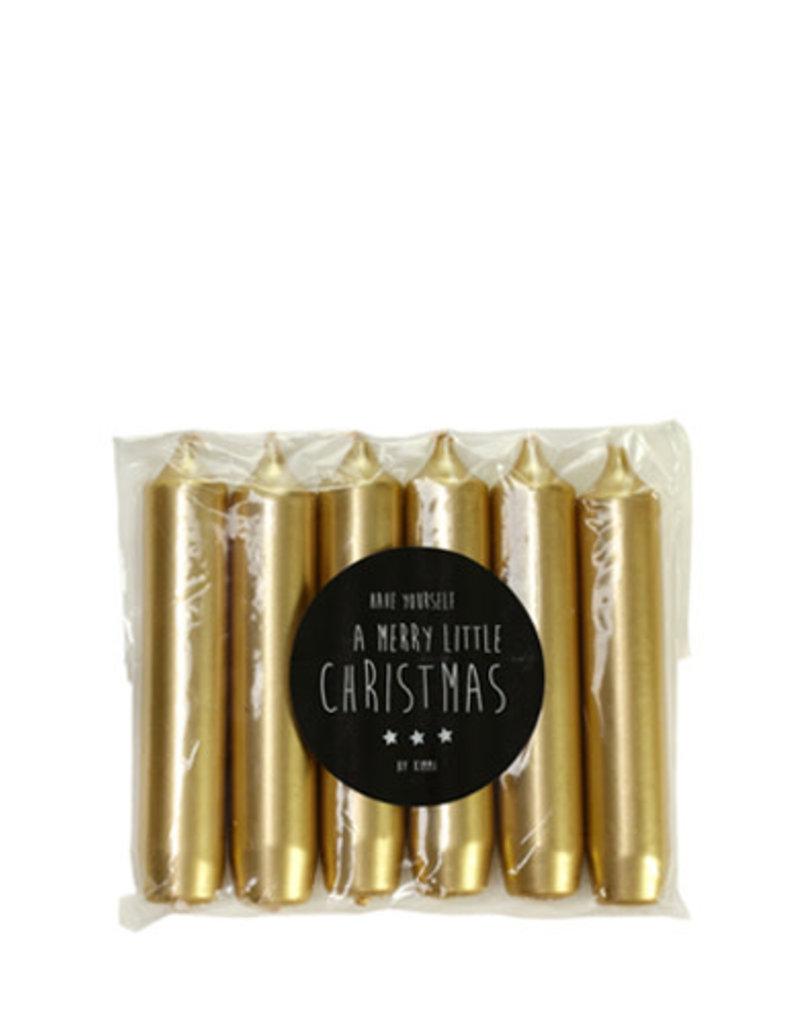 Rustik Lys Pakje van 6 kaarsjes Goud 2x12 cm