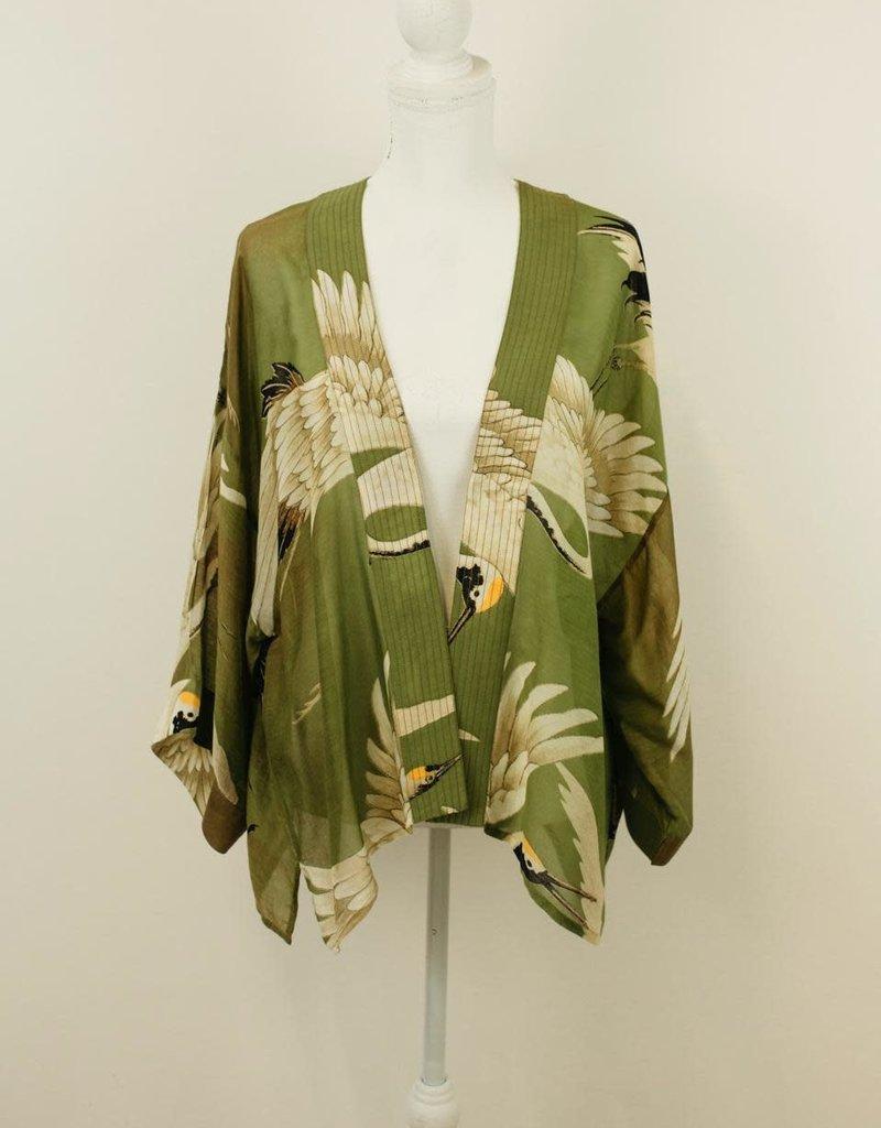 One hundred Stars Kimono KRAANVOGEL groen