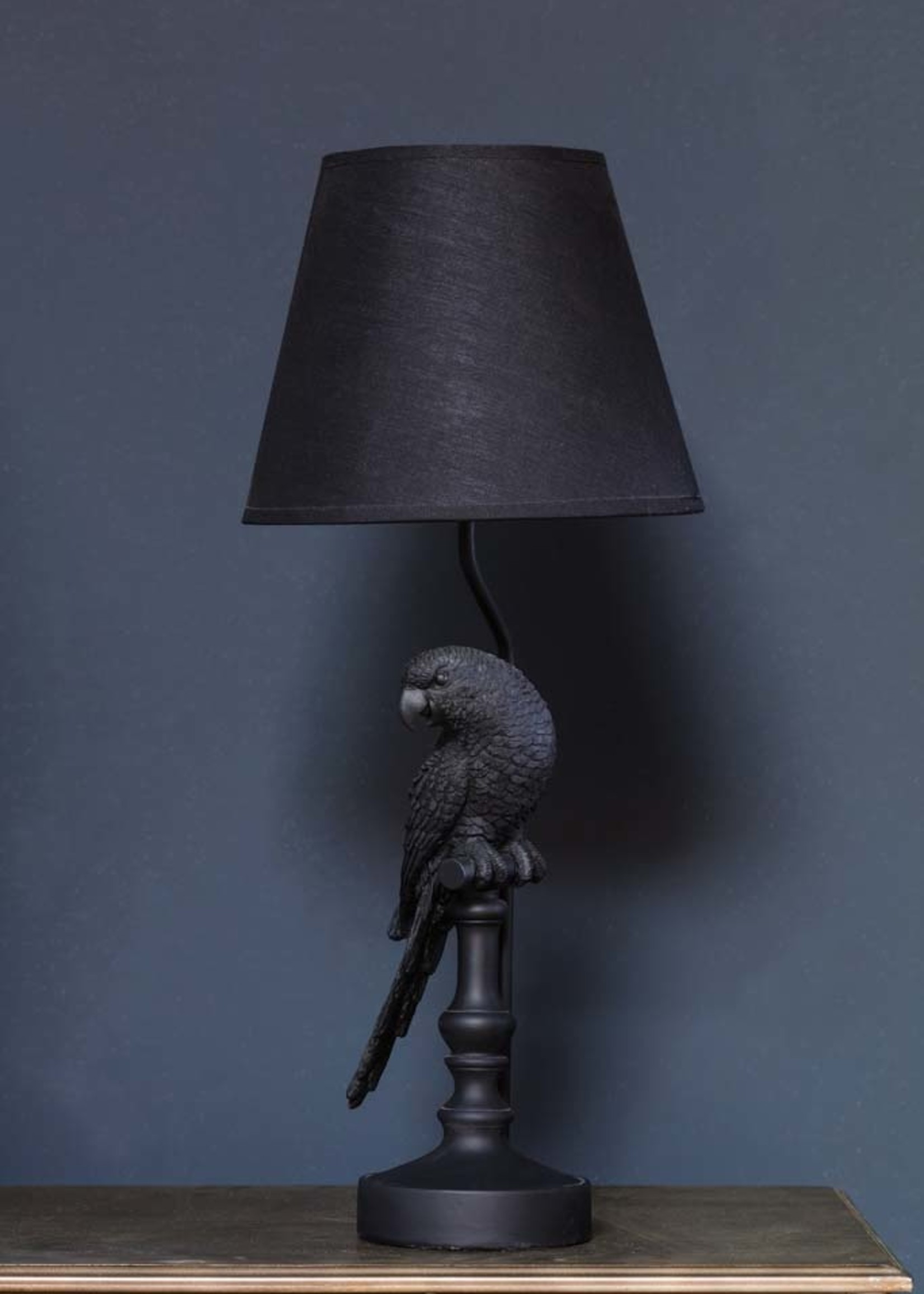 Chehoma Tafel lamp incl. kap PAPEGAAI zwart 61cm hoog
