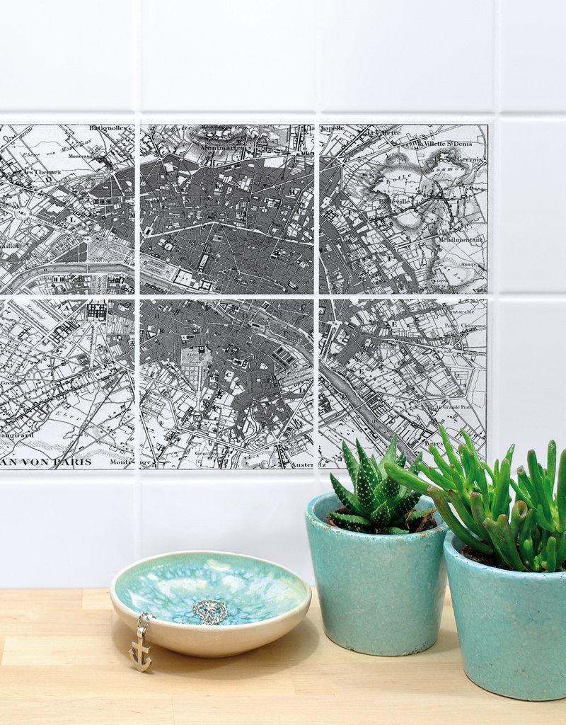 Boubouki Tegelsticker PARIJS map set van 6
