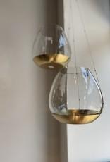 Affari Theelicht houder hangend glas met gouden schotel 15cm LARGE