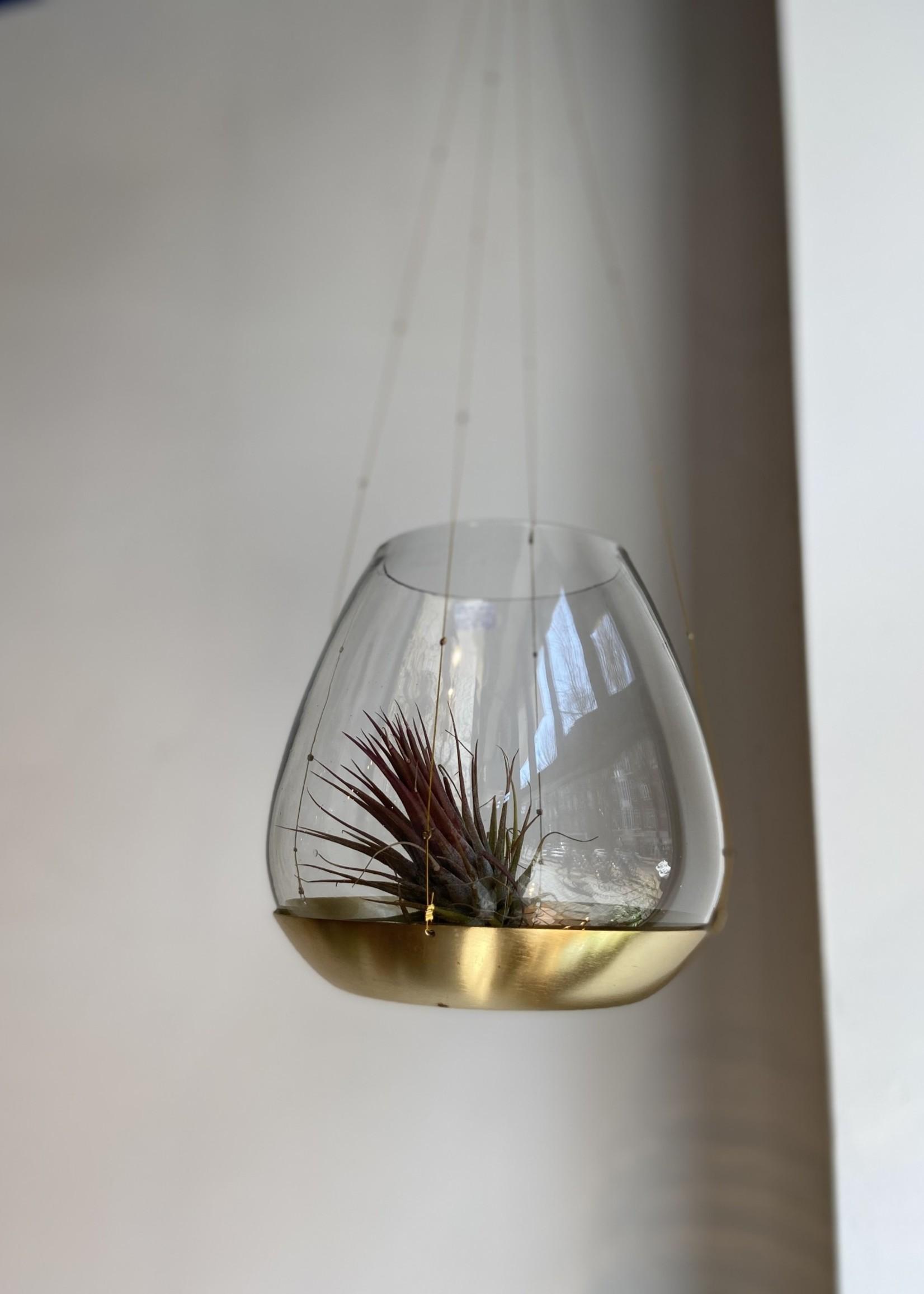 Affari Theelicht houder hangend glas met gouden schotel 12cm MEDIUM