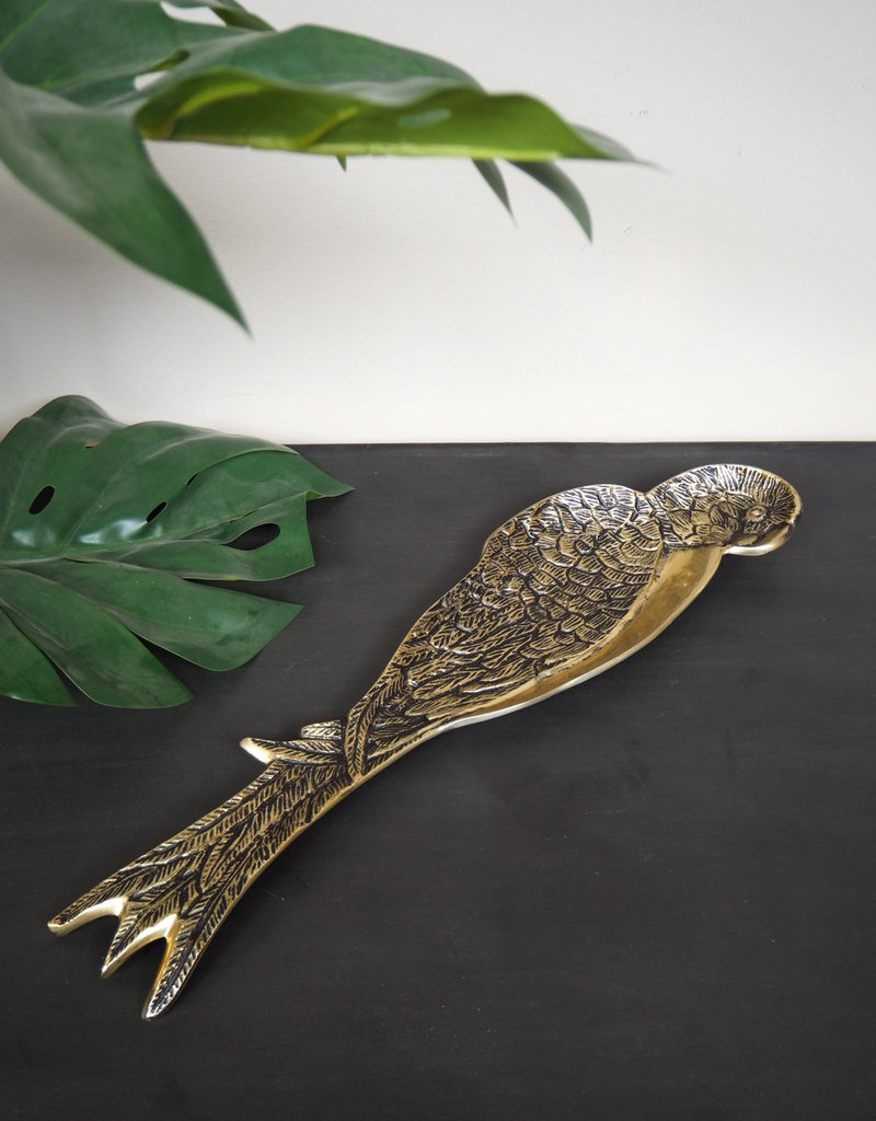 Chehoma Schaal in de vorm van een papegaai GOUD 53cm