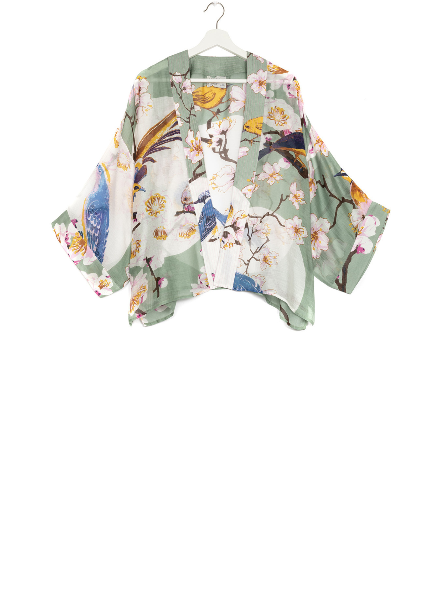 One hundred Stars Korte Kimono BLOESEM VOGEL aqua