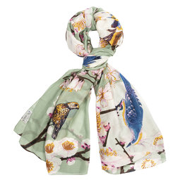 One hundred Stars Sjaal BLOESEM VOGEL aqua