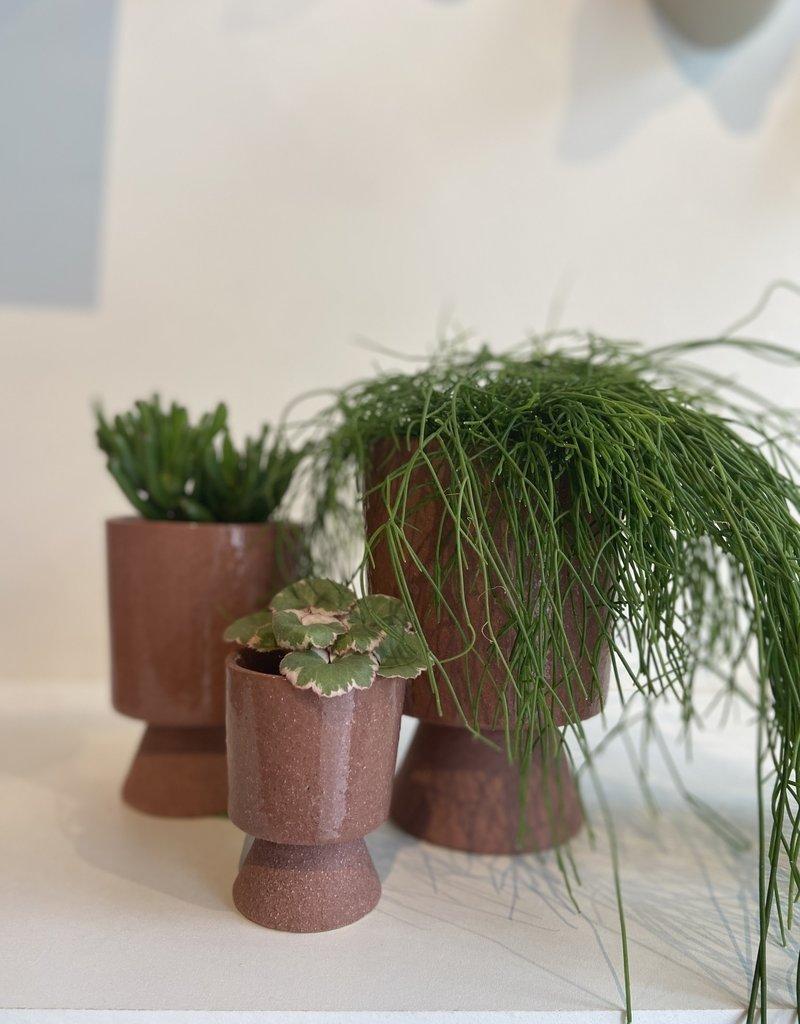 Madam Stoltz Plant pot op voetje ROZE 13.5x19 cm