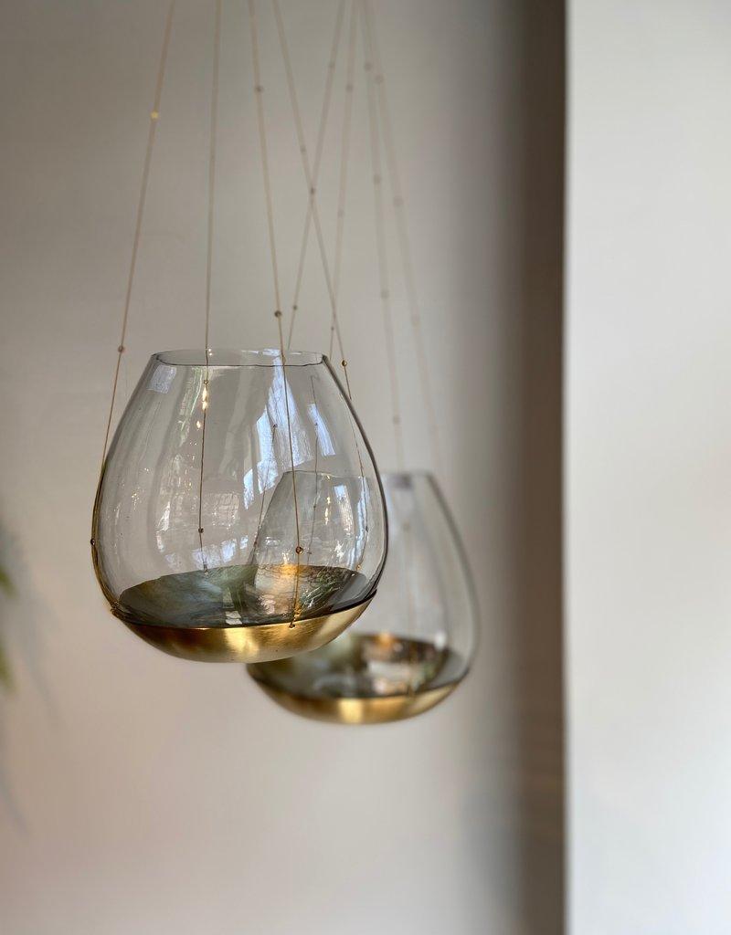 Affari Theelicht houder hangend glas met gouden schotel 7cm SMALL