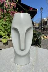 Asiatides Vaas in de vorm van een gezicht Grijs 20 cm hoog