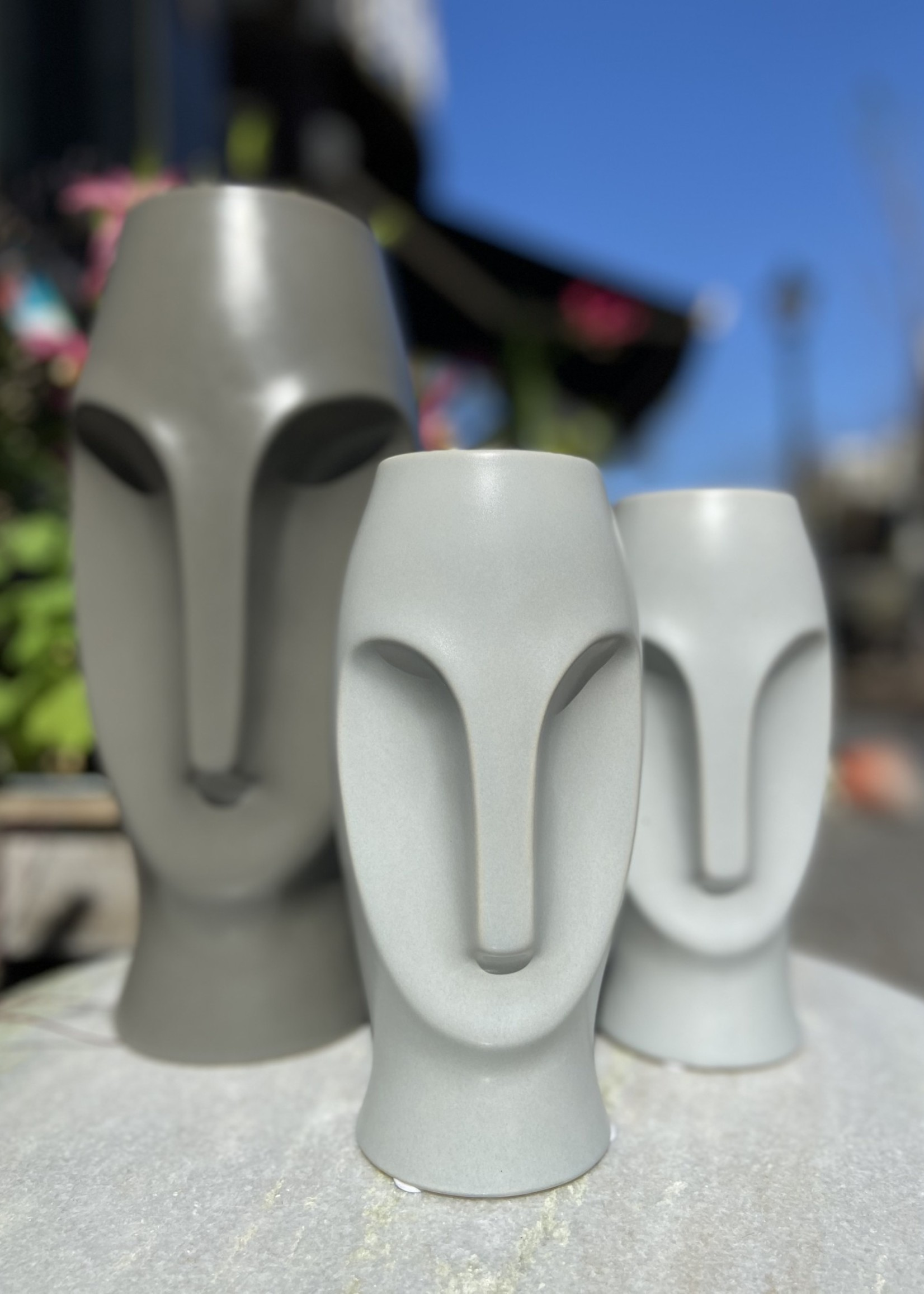 Asiatides Vaas in de vorm van een gezicht Donkergrijs 30 cm hoog