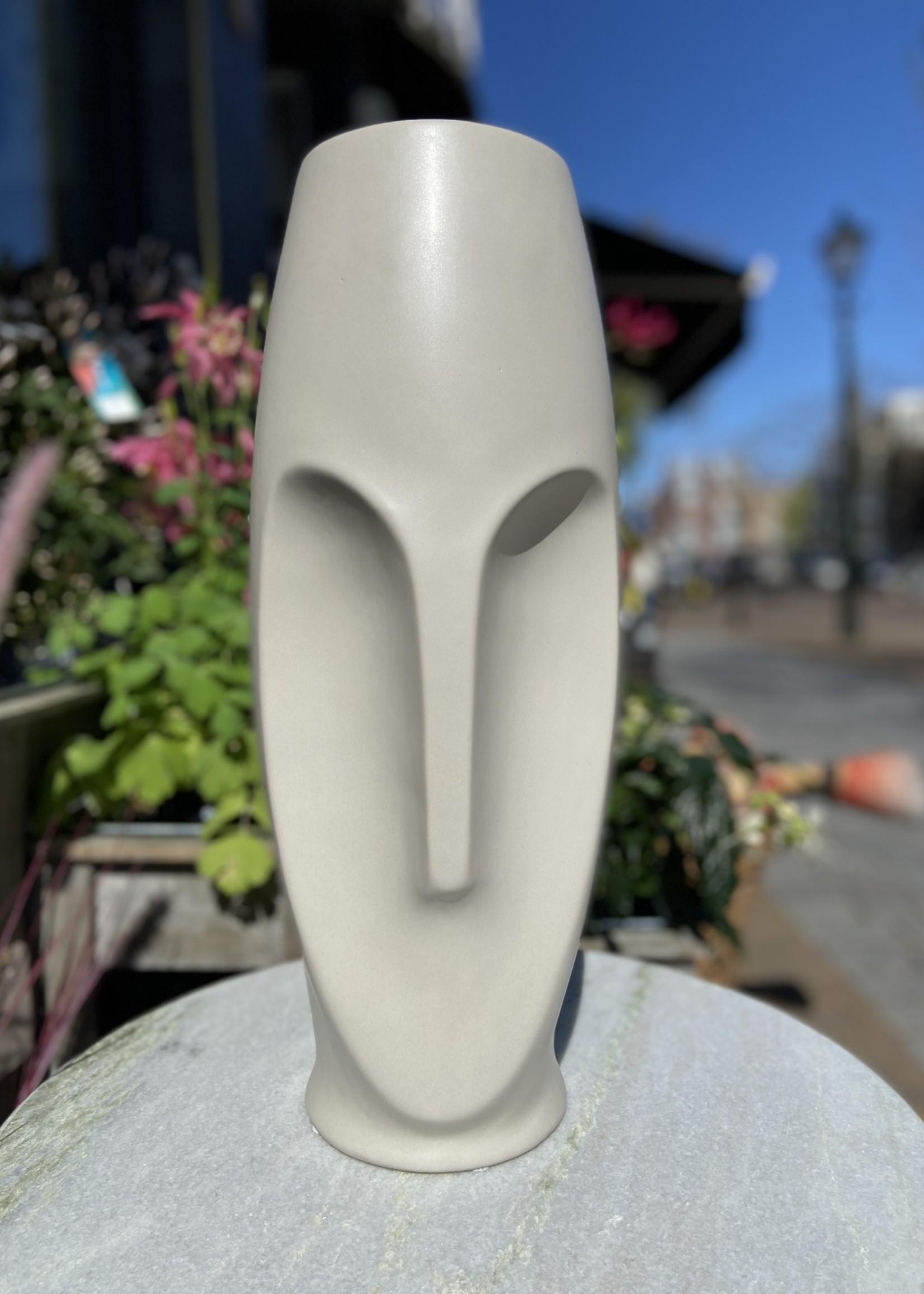 Asiatides Vaas in de vorm van een gezicht Lichtgrijs 41 cm hoog