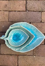 Asiatides Schaal in de vorm van een blad BLAUW 12cm