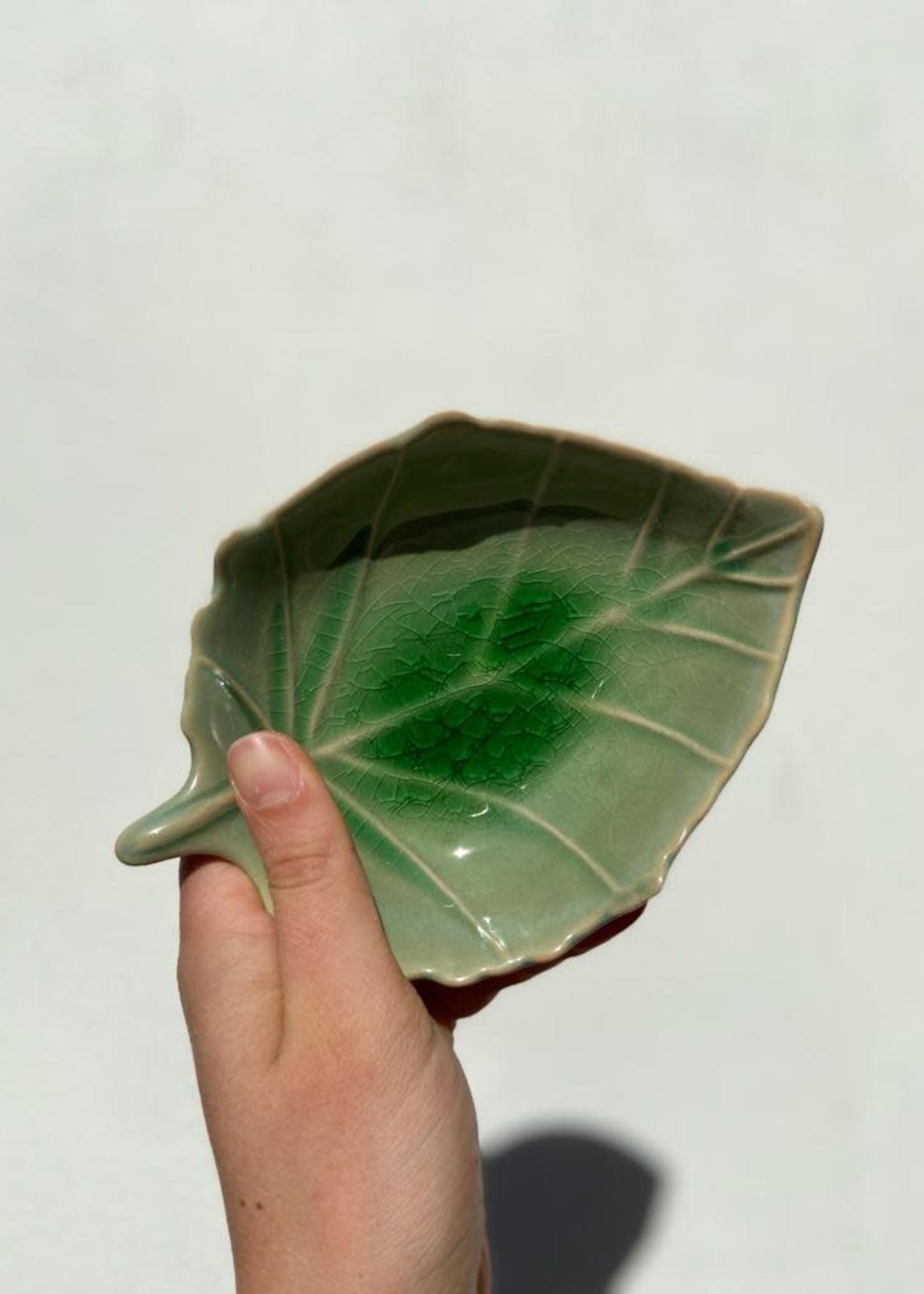 Asiatides Schaal in de vorm van een blad Groen 12cm
