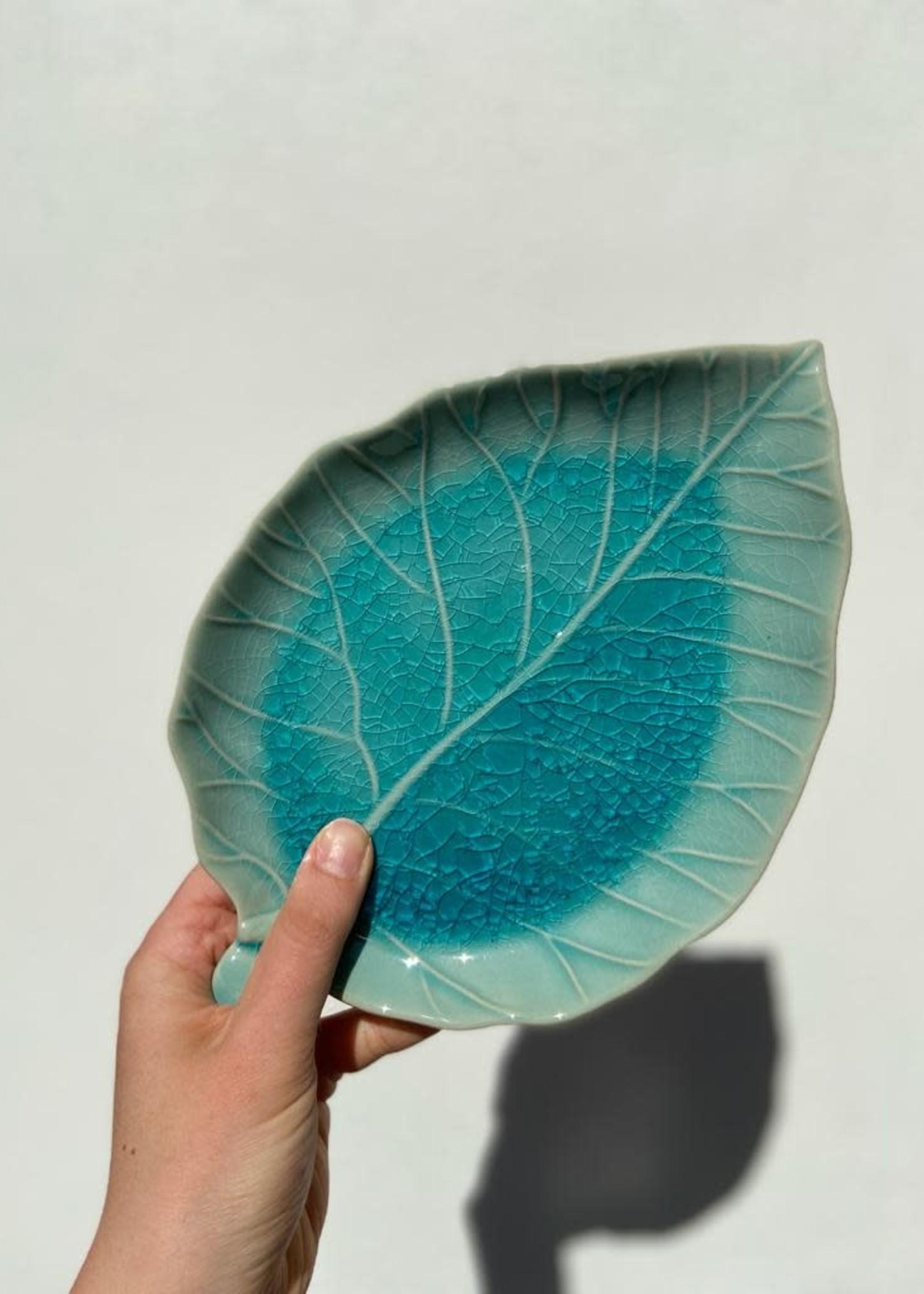 Asiatides Schaal in de vorm van een blad BLAUW 17cm