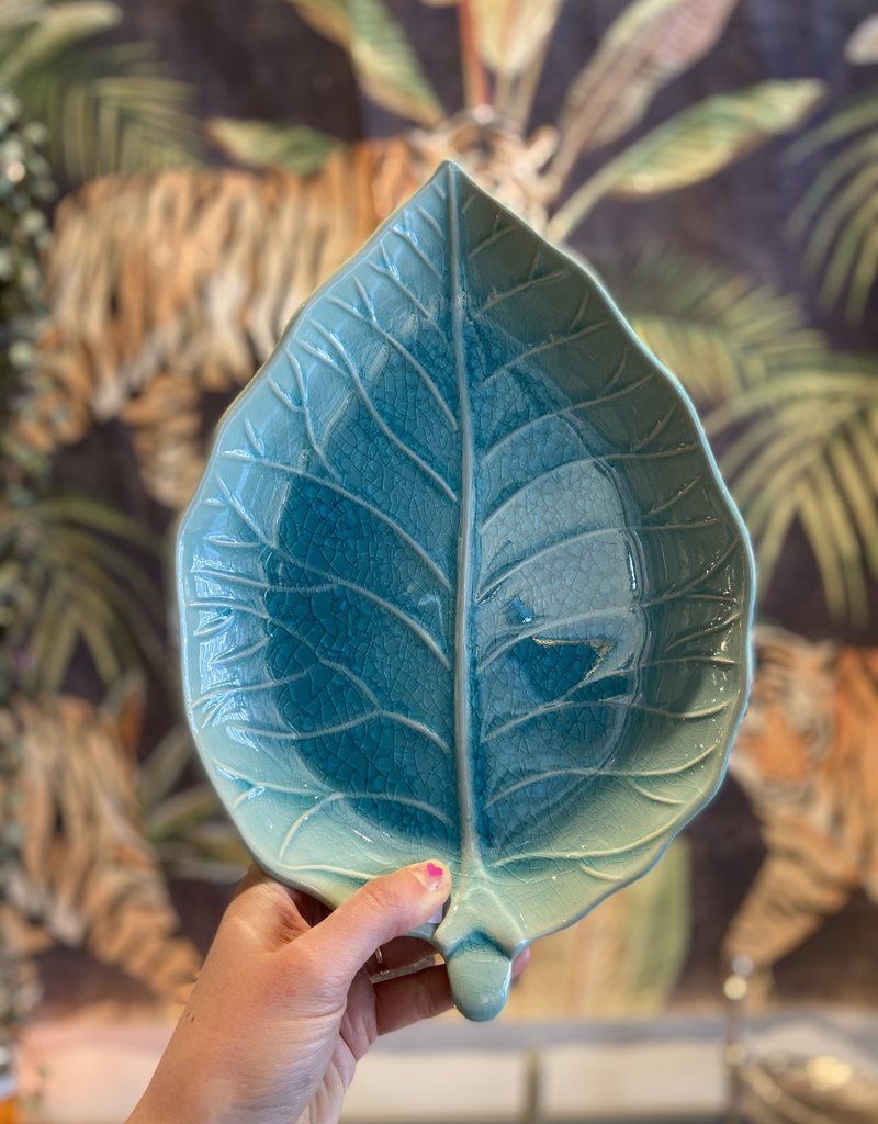 Asiatides Schaal in de vorm van een blad BLAUW 22 cm