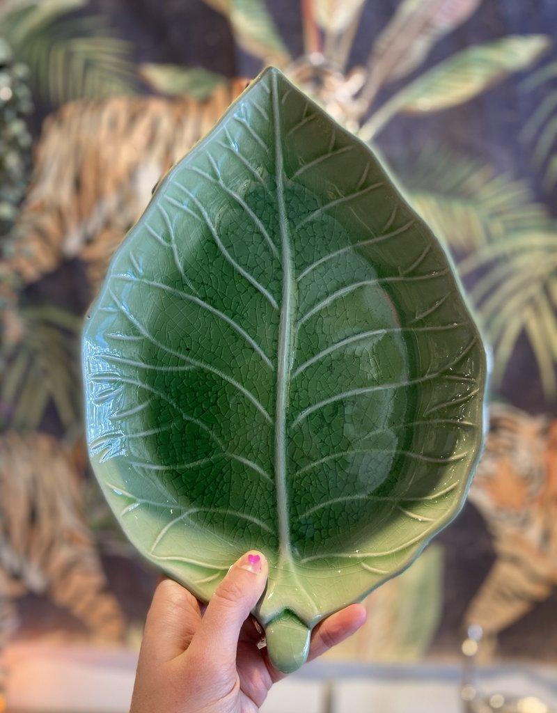 Asiatides Schaal in de vorm van een blad Groen 32 cm