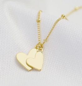 Lisa Angel Ketting dubbel hart Goud