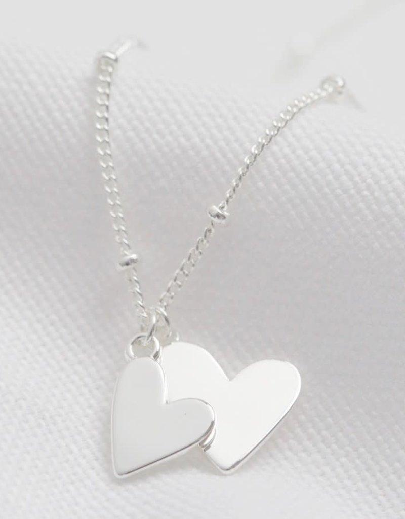 Lisa Angel Ketting dubbel hart zilver