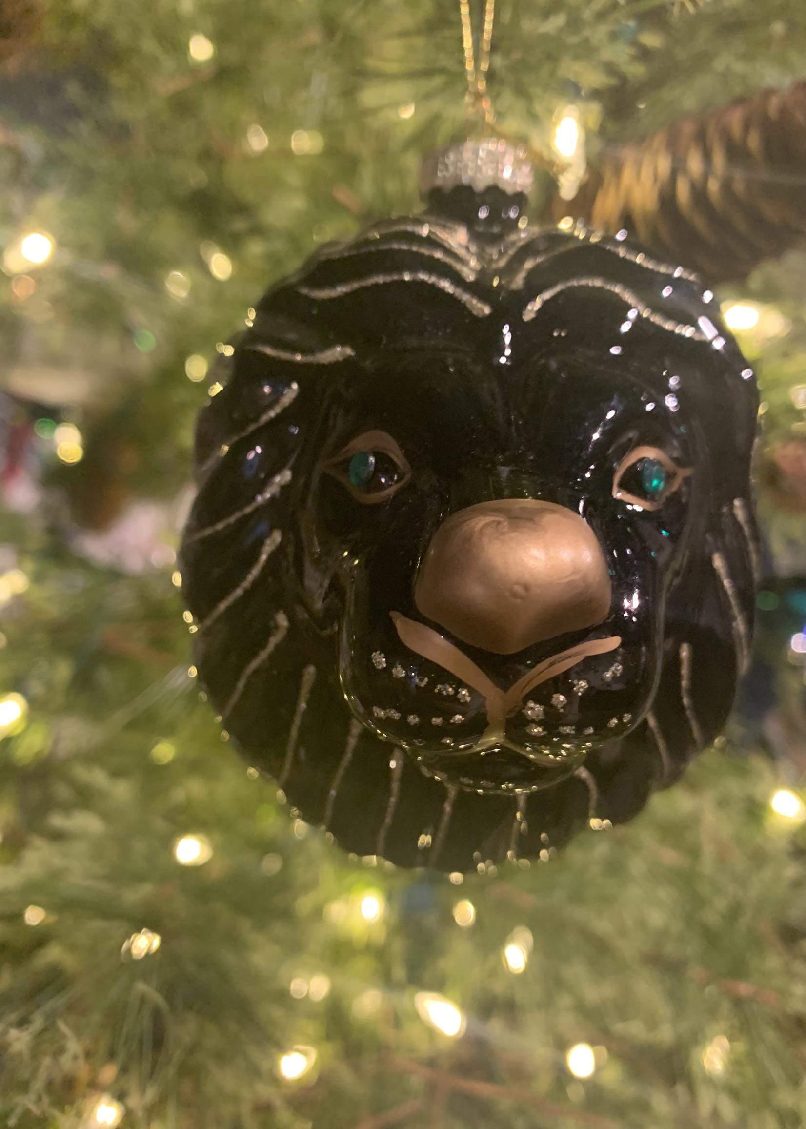 House of Seasons Ornament Leeuwenkop Zwart glas 10cm