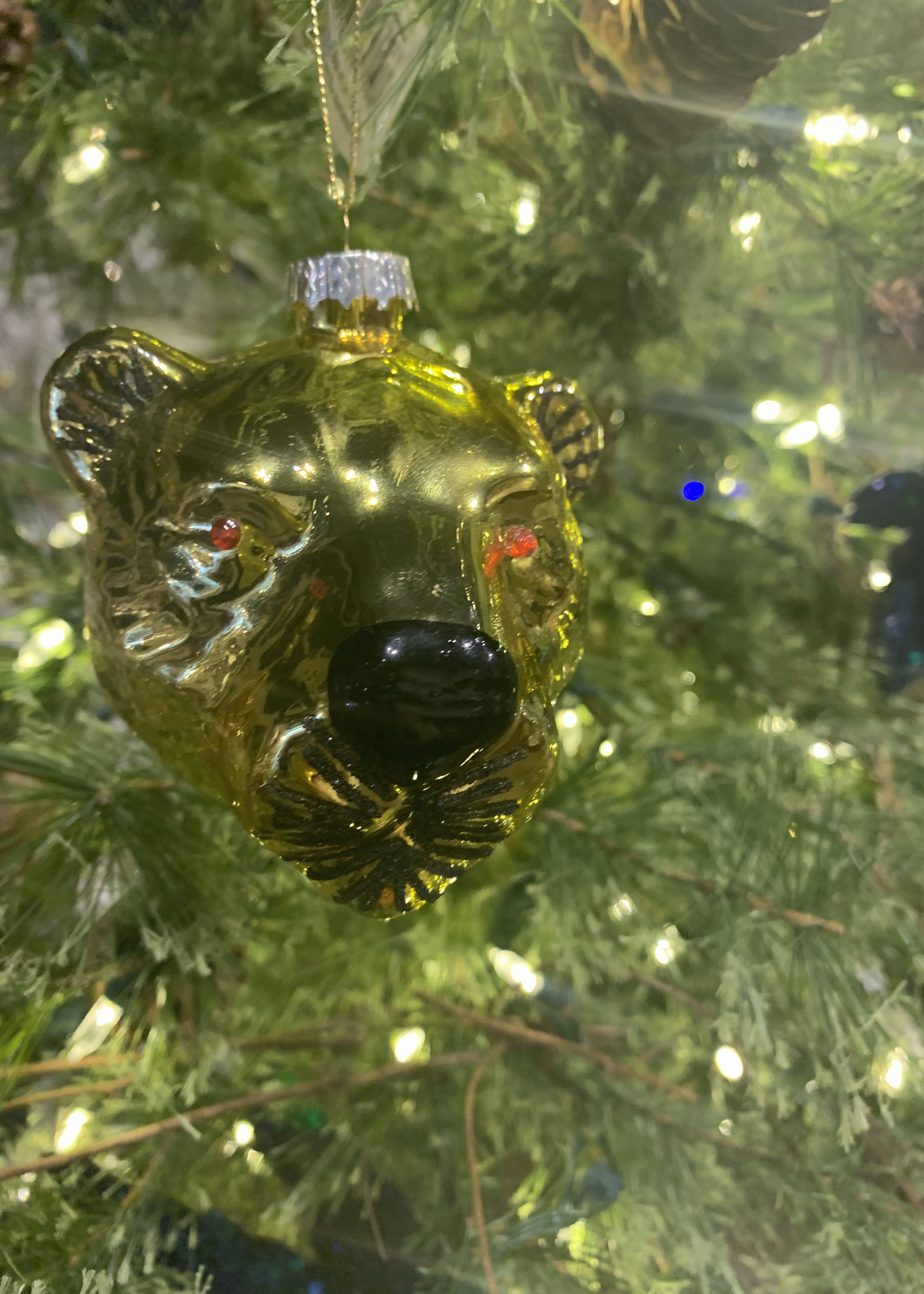 House of Seasons Ornament Tijgerkop Goud glas 9cm