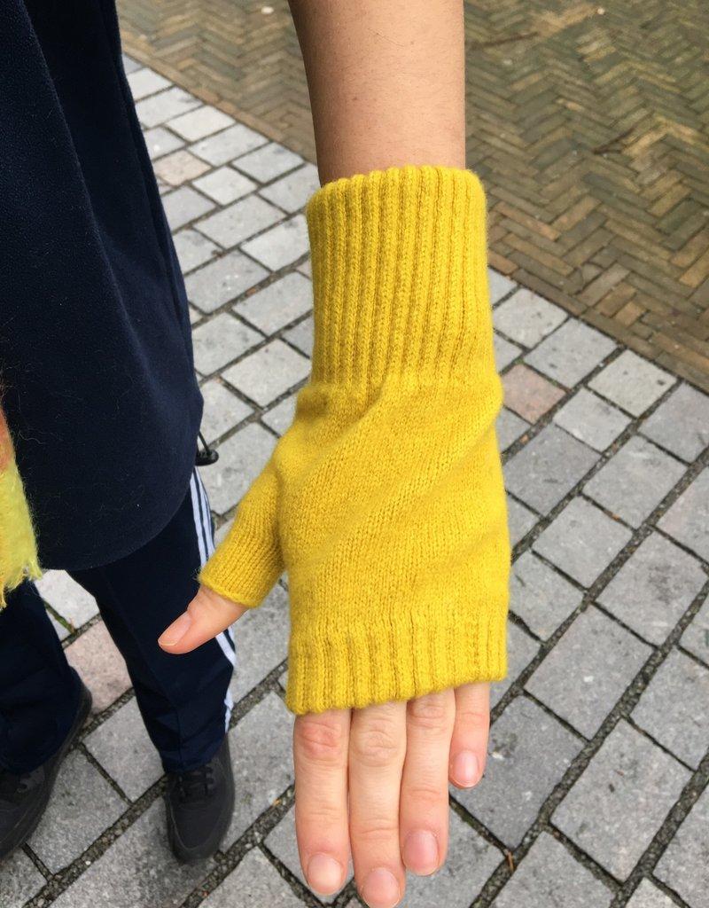 GreenGroveWeavers Handschoen KORT vingerloos  100% lamswol GEEL