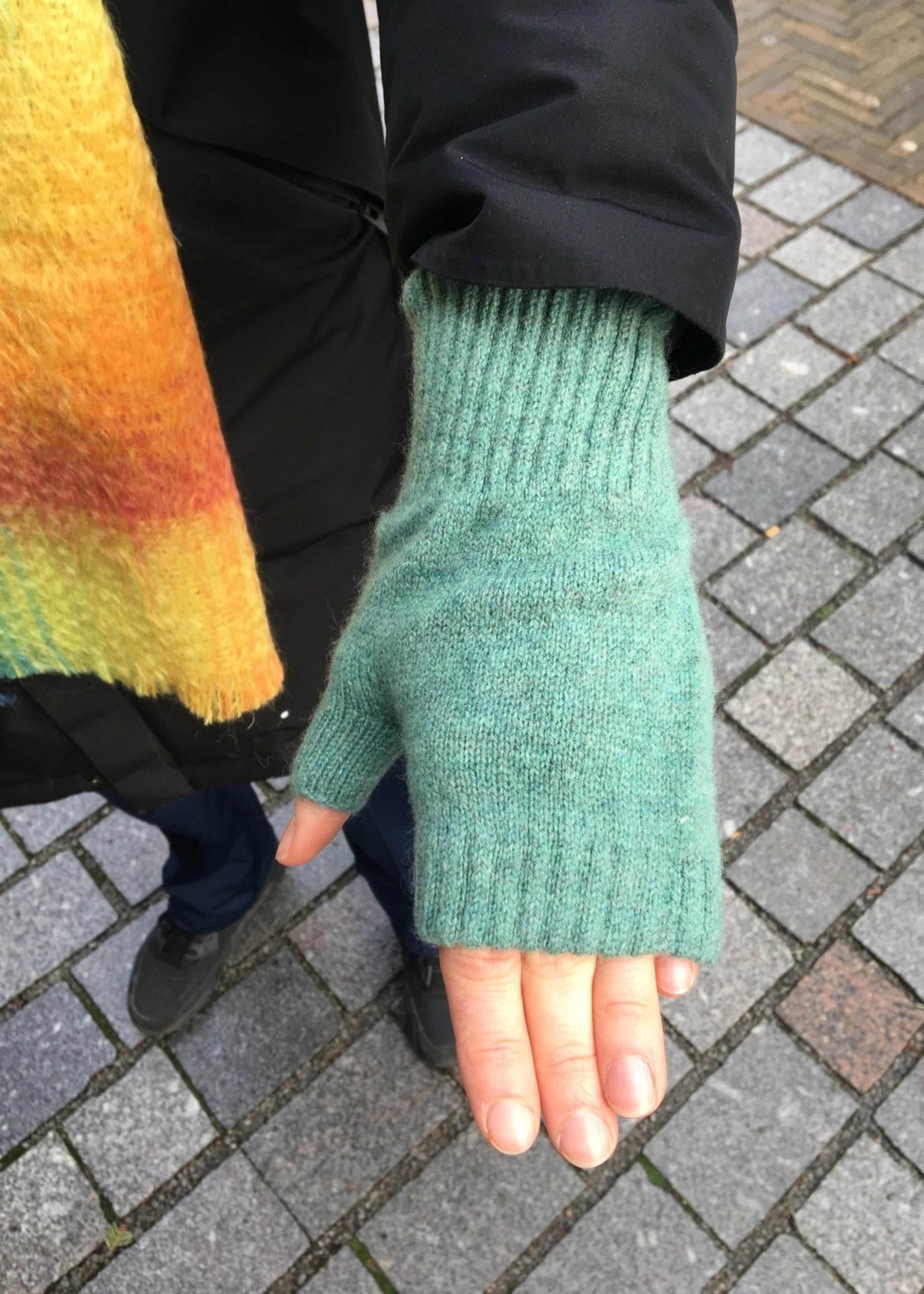 GreenGroveWeavers Handschoen KORT vingerloos  100% lamswol GROEN