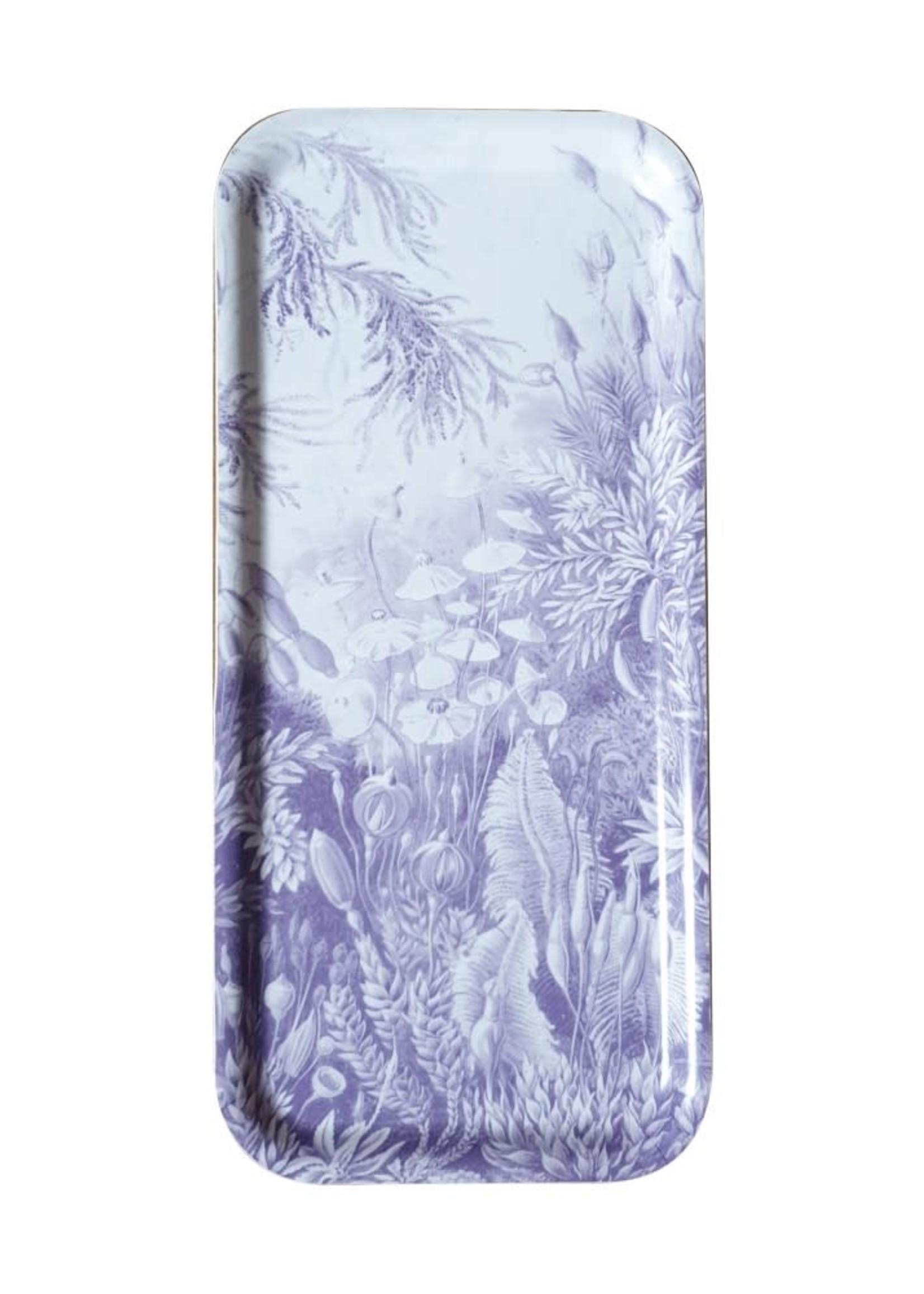 Les Ottomans Dienblad flora PAARS hout 32 x 15 cm