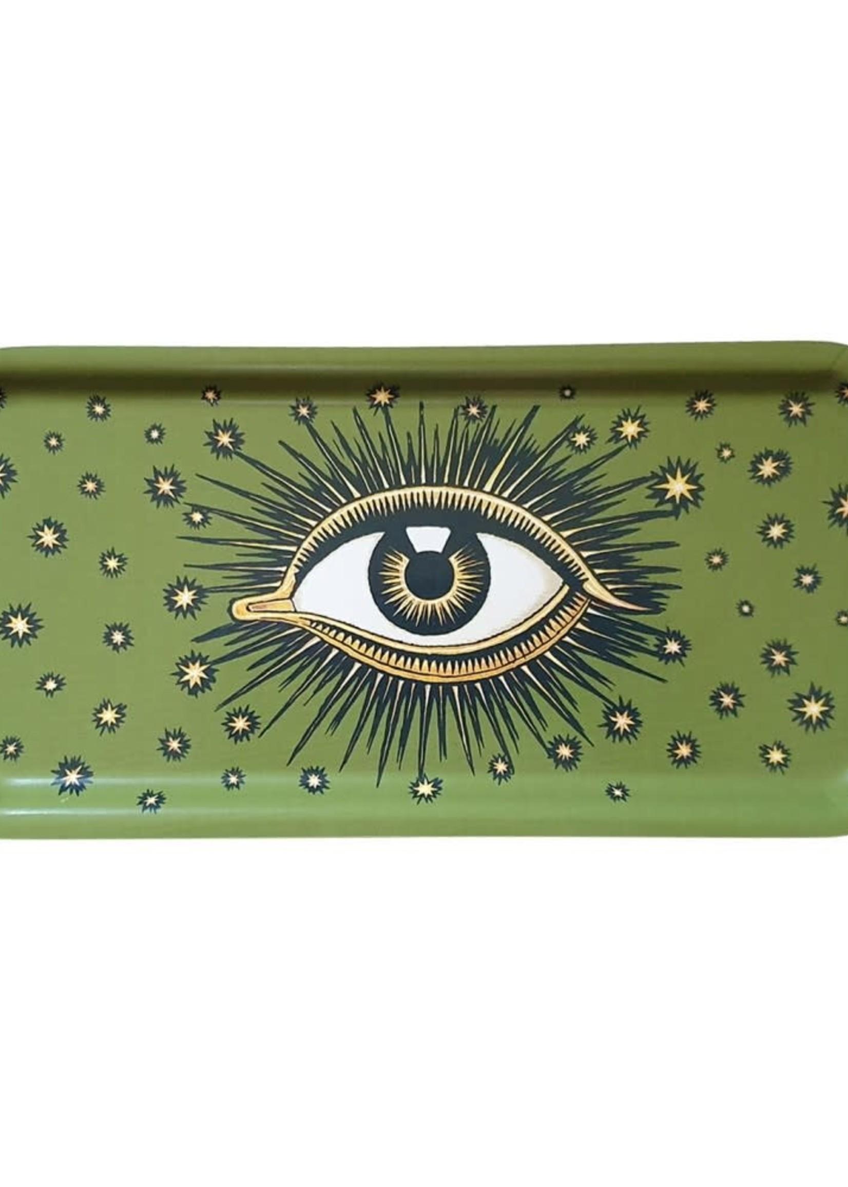 Les Ottomans Dienblad oog GROEN hout 27.5x13.5